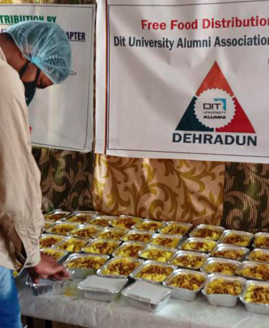 DITU Alumni Association distributes 2-time meal to 200 needy in Dehradun