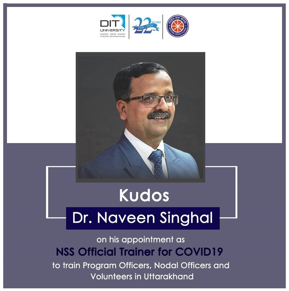 Dr. Naveen Singhal, Chief Proctor, appointed as NSS Official Trainer for COVID19