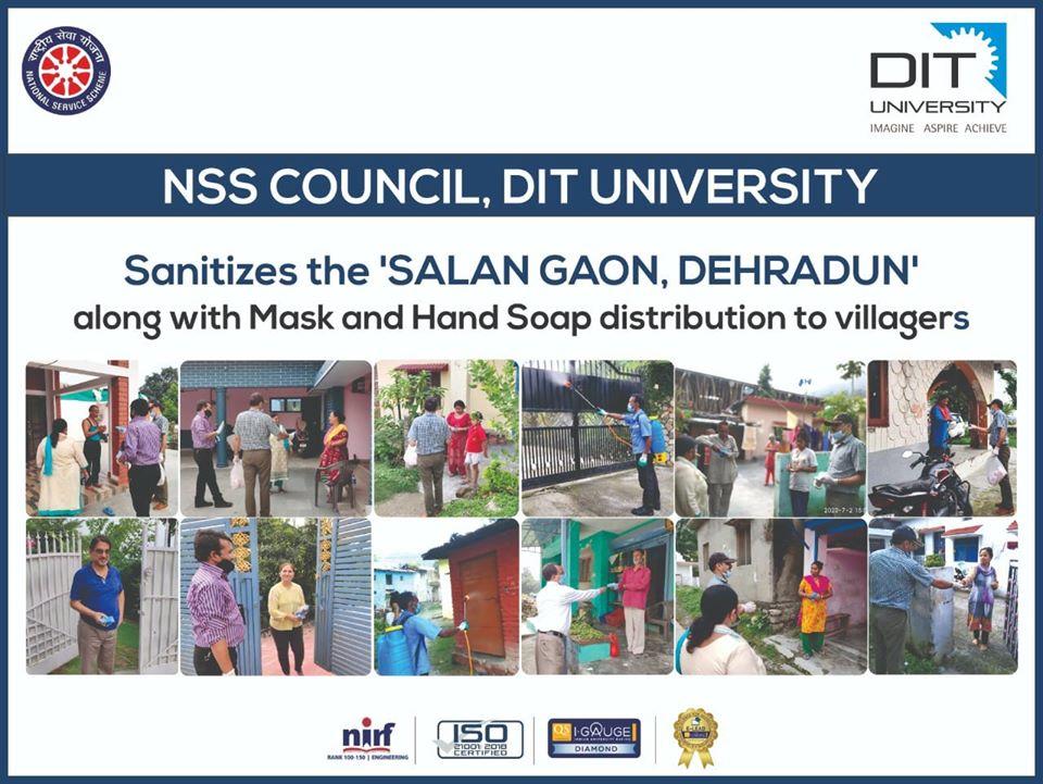 NSS Council of DIT University sanitized the Salan Gaon in Dehradun